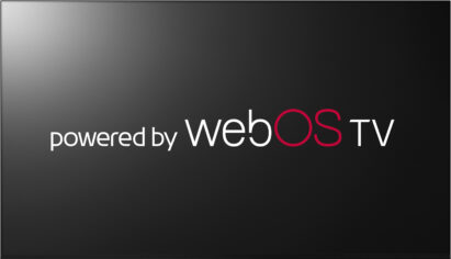 A TV display showing 'the powered by webOS TV' logo on its black screen