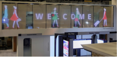 LG's Transparent LED displaying images and text to welcome guests into the building.