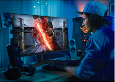 A gamer experiencing the high-speed, extremely sharp images provided by the LG UltraGear™ gaming monitor while playing an action video game at home.