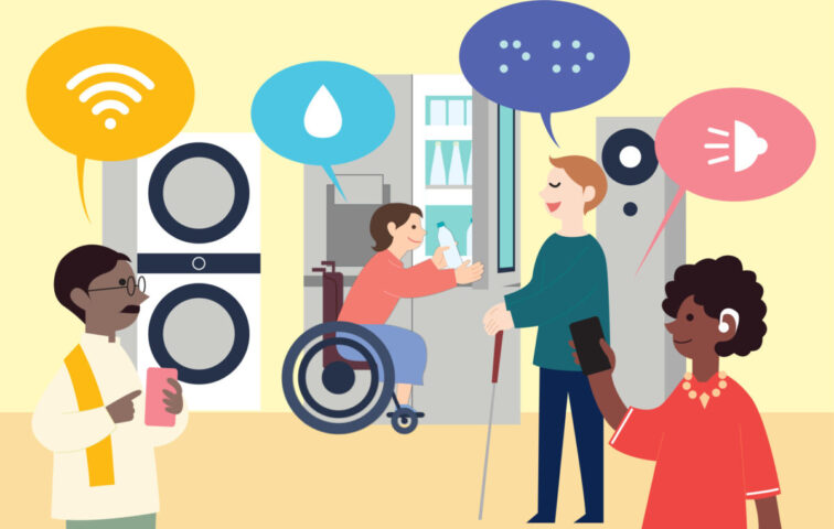 An illustration of people with different disabilities conveniently using appliances through LG's innovative technology.