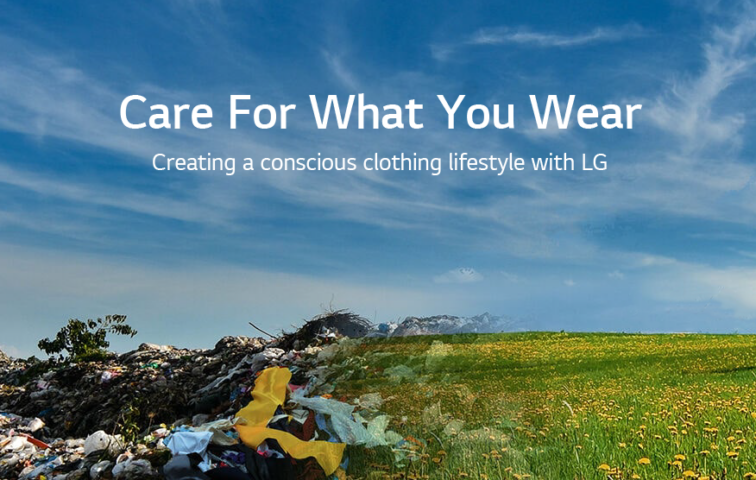 A photo showing half the landscape as a landfill and the other half as a beautiful meadow, with the Care For What You Wear campaign messaging overlapping